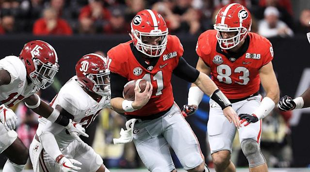 Georgia QB Jake Fromm kept the Bulldogs in the SEC championship game despite a late loss to Alabama. (AP)