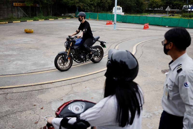 You Young-sik takes motorbike training sessions amid the coronavirus disease (COVID-19) pandemic in Seoul