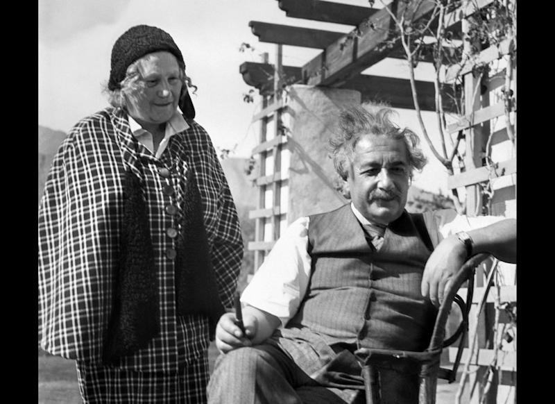 UNITED STATES: Picture taken 10 February 1933 in El Mirador Hotel in a California desert resort of Albert Einstein and his wife. (Photo credit should read AFP/AFP/Getty Images)