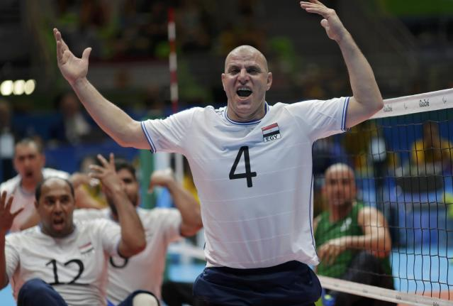 2016 Rio Paralympics - Sitting Volleyball - Men's Bronze Medal Match - Riocentro Pavilion 6 - Rio de Janeiro, Brazil - 18/09/2016. Ashraf Abdalla (EGY) of Egypt celebrates. REUTERS/Ueslei Marcelino FOR EDITORIAL USE ONLY. NOT FOR SALE FOR MARKETING OR ADVERTISING CAMPAIGNS.