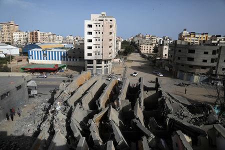 A view shows the remains of a building that was destroyed by Israeli air strikes, in Gaza City May 6, 2019. REUTERS/Mohammed Salem