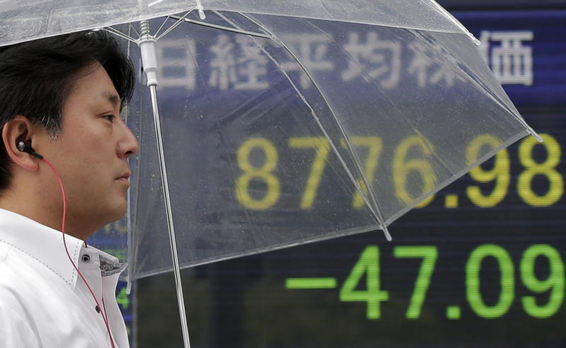 A man walks by the electronic stock board of a securities firm in Tokyo indicating the Nikkei index which fell 47.09 points to 8776.98 yen in the morning session Friday, June 22, 2012. Asian stock markets fell Friday as gloomy economic reports from the world's two biggest economies piled, heightening fears of a sharper global downturn. (AP Photo/Itsuo Inouye)