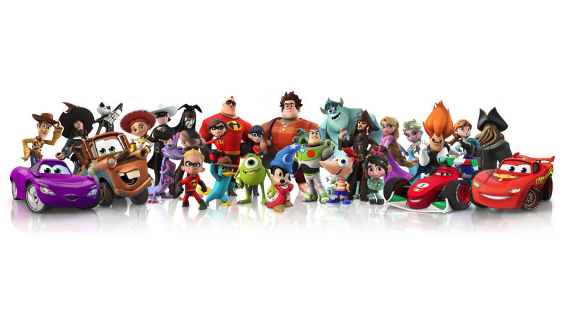 """This publicity image released by Disney shows characters from the video game, """"Disney Infinity."""" With cartoony posters plastering the walls and action figures standing at attention on nearly every flat surface, a once mundane conference room at Walt Disney Interactive Studios has been transformed into the war room for """"Disney Infinity,"""" the company's ambitious project that combines real-life figurines with a virtual world. (AP Photo/Copyright Disney)"""