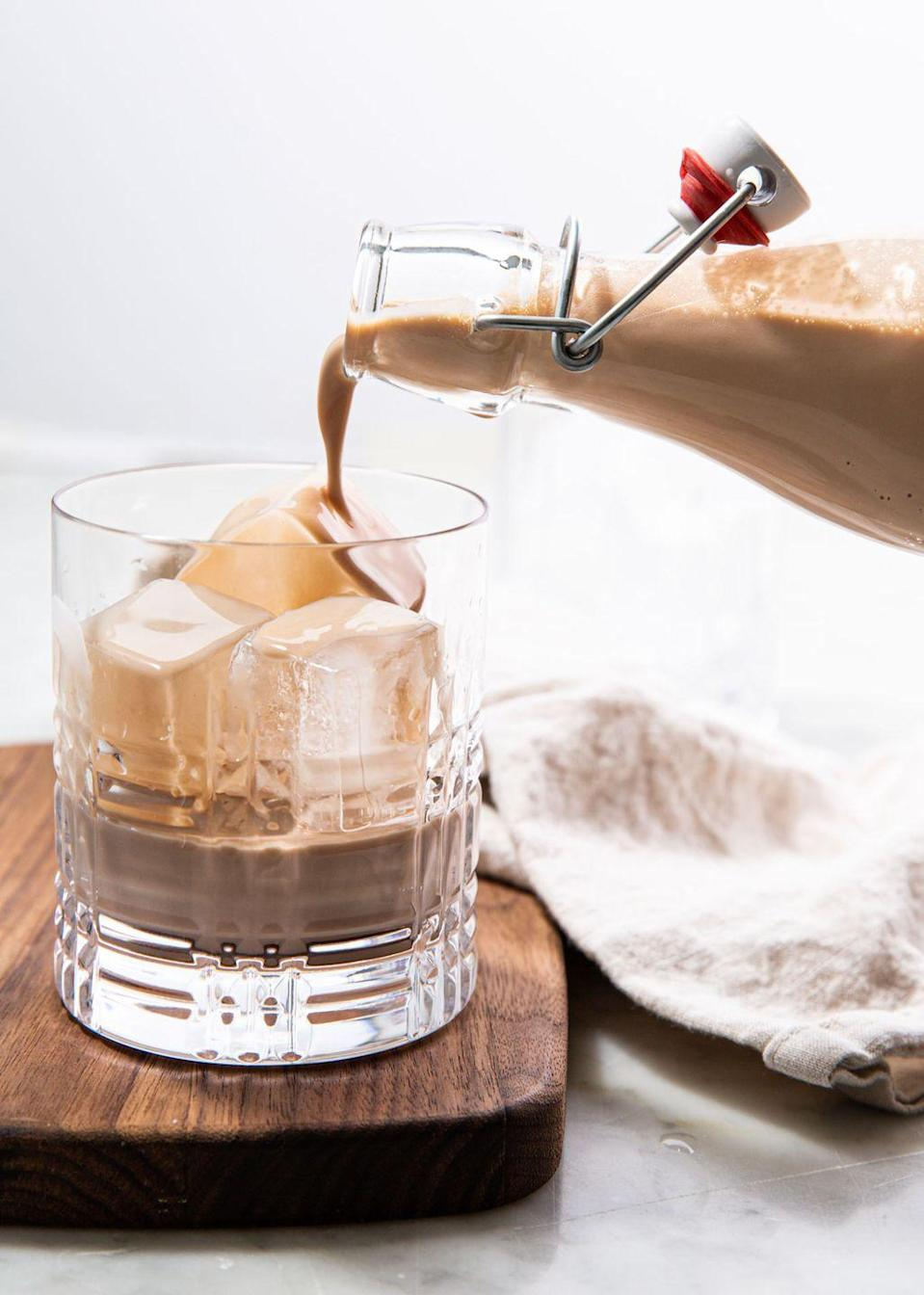 """<p>Forget about the store-bought stuff — you won't ever buy it again after making this!</p><p>Get the recipe from <a href=""""https://www.delish.com/cooking/recipe-ideas/a30778206/homemade-baileys-irish-cream-recipe/"""" rel=""""nofollow noopener"""" target=""""_blank"""" data-ylk=""""slk:Delish."""" class=""""link rapid-noclick-resp"""">Delish. </a></p>"""
