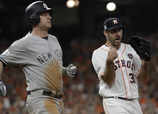 Houston Astros starting pitcher Justin Verlander reacts after the final out during the seventh inning of Game 6 of baseball's American League Championship Series against the New York Yankees Friday, Oct. 20, 2017, in Houston. (AP)