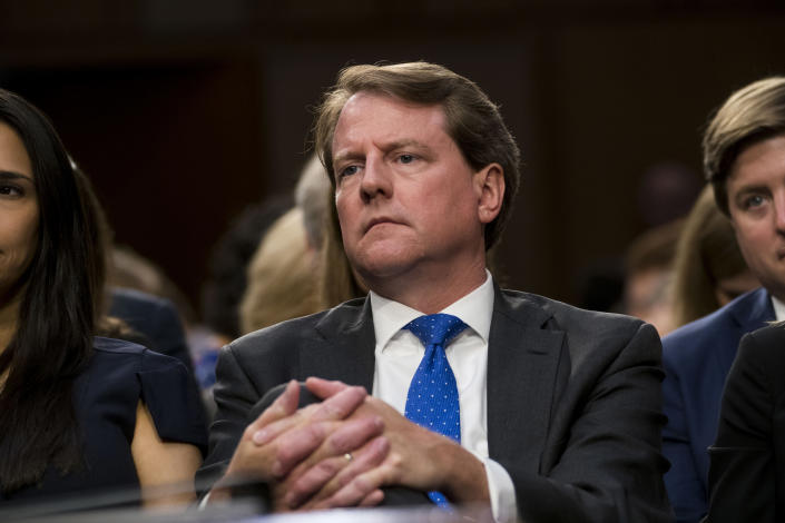 Don McGahn attends a Senate Committee Judiciary Committee hearing in Washington on Sept. 4, 2018, for then Supreme Court nominee Judge Brett Kavanaugh. (Doug Mills/The New York Times)