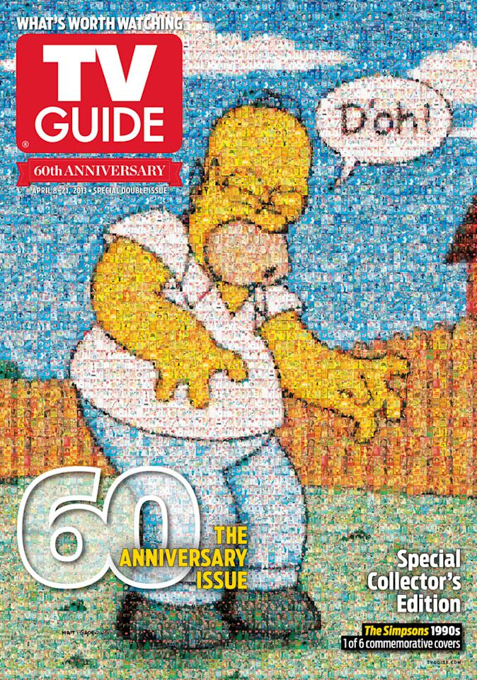 "TV Guide 60th Anniversary cover featuring ""The Simpsons."""