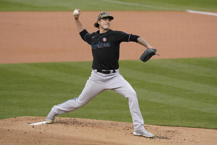 Miami Marlins starting pitcher Jordan Holloway (78) throws during the first inning of a baseball game against the Los Angeles Dodgers Saturday, May 15, 2021, in Los Angeles. (AP Photo/Ashley Landis)