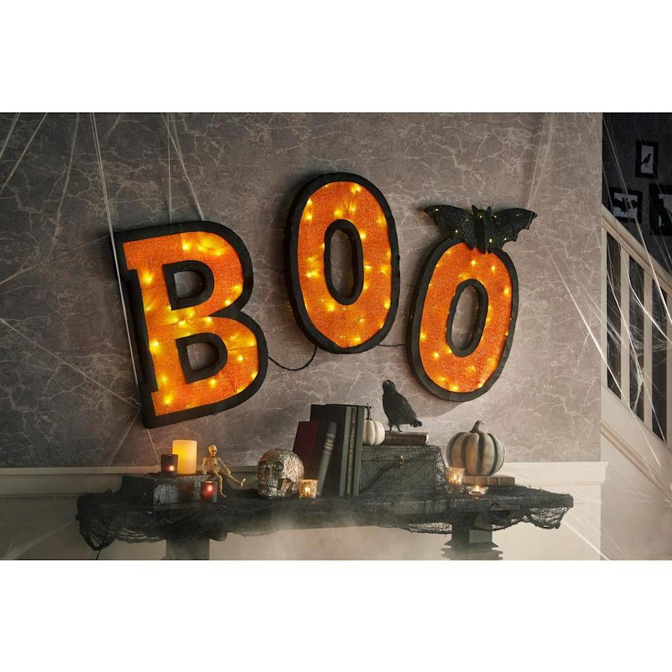 Halloween BOO lit-up sign, scary halloween decorations