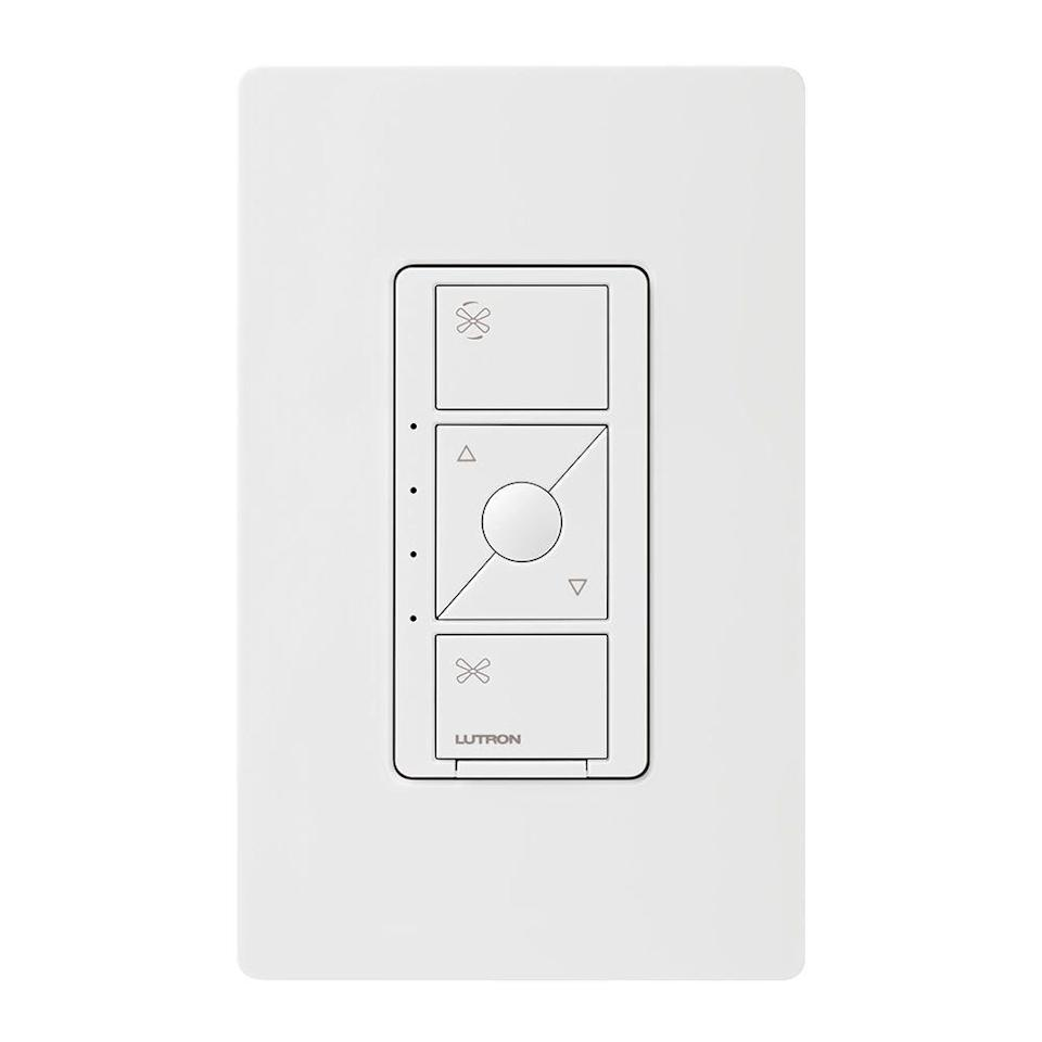 """<p><strong>Lutron</strong></p><p>amazon.com</p><p><strong>$63.95</strong></p><p><a href=""""http://www.amazon.com/dp/B07N1GXM38/?tag=syn-yahoo-20&ascsubtag=%5Bartid%7C2089.g.22594462%5Bsrc%7Cyahoo-us"""" rel=""""nofollow noopener"""" target=""""_blank"""" data-ylk=""""slk:Shop Now"""" class=""""link rapid-noclick-resp"""">Shop Now</a></p><p>Lutron's newest smart light switch offers something no other smart switch can do: controlling your ceiling fan. Not only does it trigger your lights, it also has four fan speeds to adjust with your smartphone, smart assistant, or <a href=""""https://www.amazon.com/Lutron-PJ2-3BRL-WH-F01R-Remote-Wireless-Control/dp/B07NQDT39V/?tag=syn-yahoo-20&ascsubtag=%5Bartid%7C2089.g.22594462%5Bsrc%7Cyahoo-us"""" rel=""""nofollow noopener"""" target=""""_blank"""" data-ylk=""""slk:remote control"""" class=""""link rapid-noclick-resp"""">remote control</a>. Just make sure you have a <a href=""""https://www.amazon.com/Lutron-Wireless-L-BDG2-WH-HomeKit-Assistant/dp/B00XPW67ZM/?tag=syn-yahoo-20&ascsubtag=%5Bartid%7C2089.g.22594462%5Bsrc%7Cyahoo-us"""" rel=""""nofollow noopener"""" target=""""_blank"""" data-ylk=""""slk:bridge"""" class=""""link rapid-noclick-resp"""">bridge</a> if you want to use voice controls.</p><p>It takes less than 10 minutes to install and allows you to create schedules. So, if you want your ceiling fan to turn on high speed around bedtime, it will automatically turn on for you. If you get too cold in the middle of the night, there's no need to get out of the bed and stumble to the light switch by your bedroom door, either — all you have to do is ask Alexa or your Google speaker to lower the speed. Isn't the future great?</p>"""