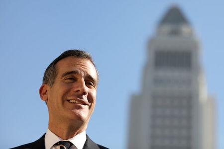 File Photo: Los Angeles Mayor Eric Garcetti speaks at a press conference in Los Angeles