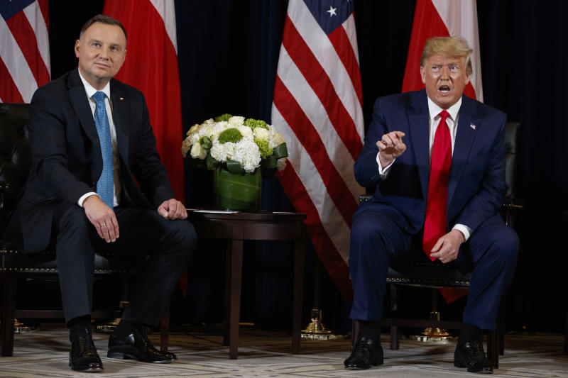 President Donald Trump meets with Polish President Andrzej Duda at the InterContinental Barclay hotel during the United Nations General Assembly, Monday, Sept. 23, 2019, in New York. (AP Photo/Evan Vucci)