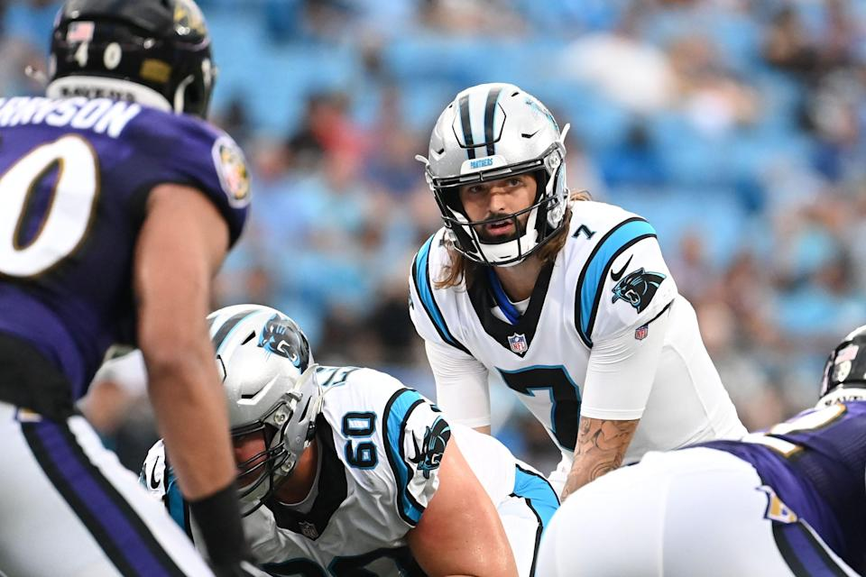 Carolina Panthers quarterback Will Grier (7) at the line in the first quarter at Bank of America Stadium.