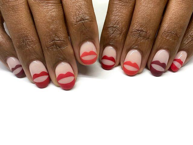 """<p>These lip decals are really all you need on your nails. Paint each a different color against a nude nail to really make them pop. </p><p><a href=""""https://www.instagram.com/p/B8lw-8LhUIp/"""" rel=""""nofollow noopener"""" target=""""_blank"""" data-ylk=""""slk:See the original post on Instagram"""" class=""""link rapid-noclick-resp"""">See the original post on Instagram</a></p>"""