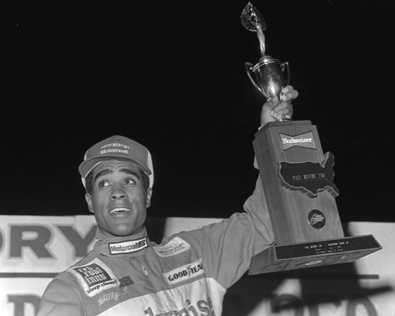 DAYTONA BEACH, FL — July 3, 1984: Willy T. Ribbs in victory lane at Daytona International Speedway after winning the Paul Revere 250 SCCA Trans-Am race. Ribbs drove a Jack Roush-owned Mercury Capri to the victory. (Photo by ISC Images & Archives via Getty Images)