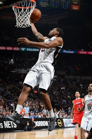 SAN ANTONIO - APRIL 24: Kawhi Leonard #2 of the San Antonio Spurs goes up for a shot against the Los Angeles Clippers during Game Three of the Western Conference Quarterfinals at the AT&T Center on April 24, 2015 in San Antonio, Texas