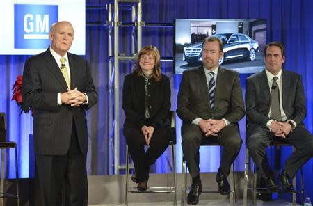 Handout photo of General Motors Chairman and CEO Dan Akerson announcing he is stepping during a Town Hall meeting with employees in Detroit