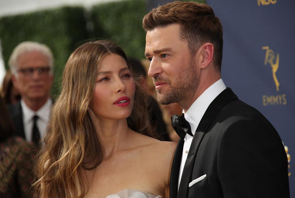 Jessica Biel and Justin Timberlake attend the 70th Emmy Awards at Microsoft Theater on September 17, 2018 in Los Angeles, California. (Photo by Dan MacMedan/Getty Images)