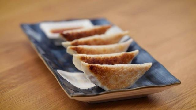 crispy Luncheon meat gyoza with sauce