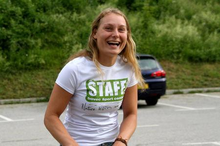 Louisa Vesterager Jespersen wears a Bovec Sports Center t-shirt in this undated photo obtained from social media