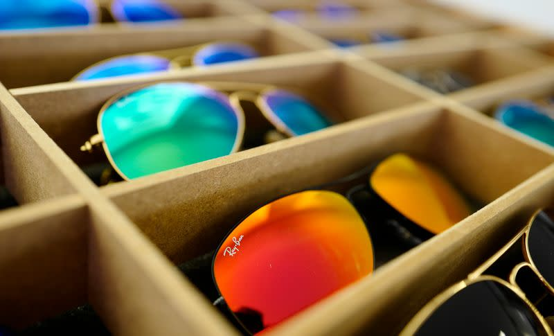 Sunglasses from Ray Ban are on display at a optician shop in Hanau near Frankfurt