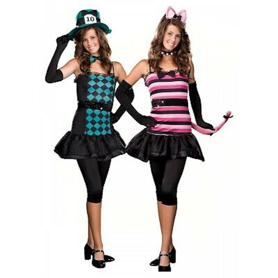 """<p>Take a tumble down the rabbit hole with this colorful Disney couple Halloween costume. Between the wacky Mad Hatter and the elusive Cheshire Cat, you and your partner will be dialing up the weird this Halloween. </p><p><a class=""""link rapid-noclick-resp"""" href=""""https://www.amazon.com/FantastCostumes-Hatter-Costume-Party-Gentleman/dp/B07PX9DJPG/?tag=syn-yahoo-20&ascsubtag=%5Bartid%7C10070.g.28691602%5Bsrc%7Cyahoo-us"""" rel=""""nofollow noopener"""" target=""""_blank"""" data-ylk=""""slk:SHOP MAD HATTER COSTUME"""">SHOP MAD HATTER COSTUME</a></p><p><a class=""""link rapid-noclick-resp"""" href=""""https://go.redirectingat.com?id=74968X1596630&url=https%3A%2F%2Fwww.halloweencostumes.com%2Fadult-deluxe-cheshire-cat-costume.html&sref=https%3A%2F%2Fwww.womansday.com%2Fstyle%2Fg28691602%2Fdisney-couples-costumes%2F"""" rel=""""nofollow noopener"""" target=""""_blank"""" data-ylk=""""slk:SHOP CHESHIRE CAT COSTUME"""">SHOP CHESHIRE CAT COSTUME</a></p>"""