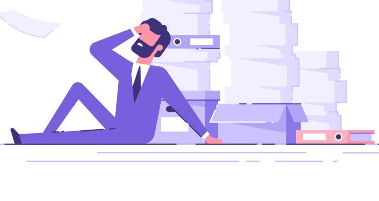 Tired businessman sitting on the floor clutching his head with the piles of paper document around. Overwork concept. Modern vector illustration.
