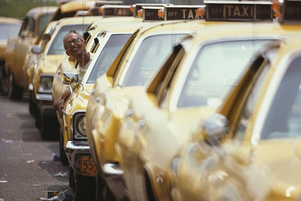 <p>Some things never change. Yellow cabs wait in line at LaGuardia Airport during spring travels in March '74.</p>