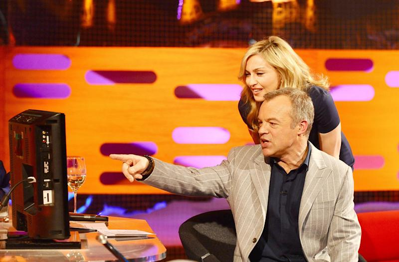 Graham Norton and Madonna during the filming of the Graham Norton Show at The London Studios, south London, to be aired on BBC One on Friday evening.