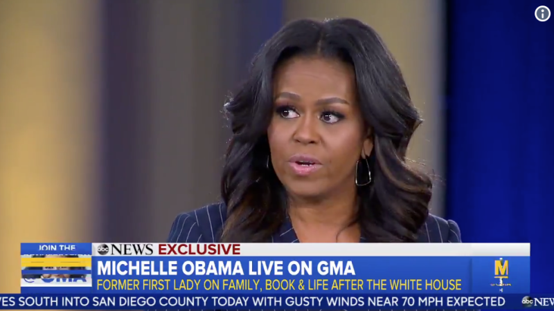 "Michelle Obama praised former first daughters Jenna and Barbara Bush and Chelsea Clinton on ""Good Morning America"" on Nov. 12."