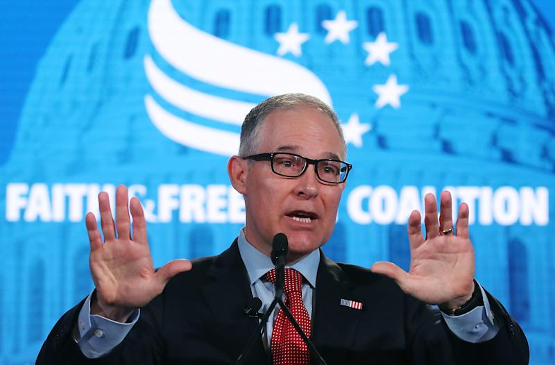 EPA Administrator Scott Pruitt speaks on June 8 at the Faith and Freedom Coalition Road to Majority Policy Conference. (Mark Wilson via Getty Images)