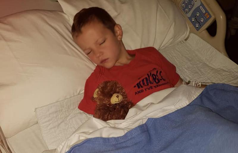 Noah Surrett of Waynesville, North Carolina was hospitalised with La Crosse encephalitis a mosquito-bourne virus.