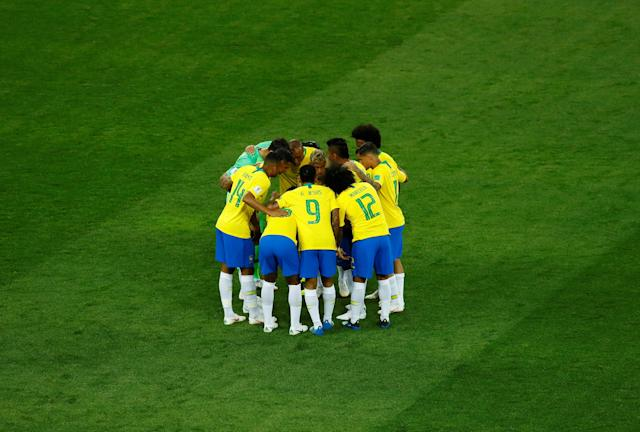 Soccer Football - World Cup - Group E - Brazil vs Switzerland - Rostov Arena, Rostov-on-Don, Russia - June 17, 2018 Brazil players huddle before the match REUTERS/Jason Cairnduff