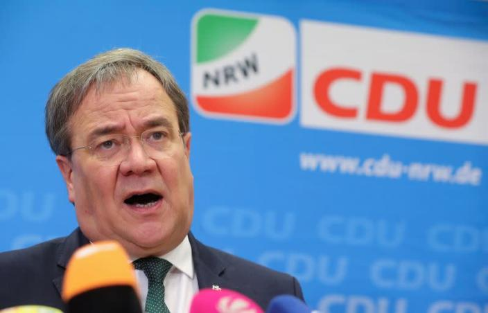 FILE PHOTO: Laschet, North-Rhine Westphalian (NRW) federal state premier and chairman of the CDU in NRW addresses the media in his hometown Aachen
