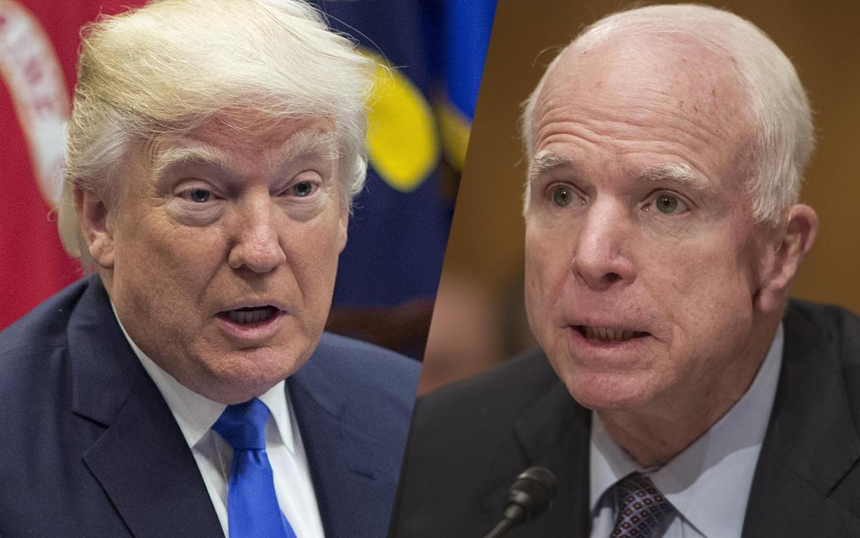President Trump and Sen. John McCain. (Photos: Pablo Martinez Monsivais/AP, Cliff Owen/AP)