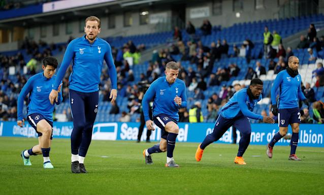 """Soccer Football - Premier League - Brighton & Hove Albion vs Tottenham Hotspur - The American Express Community Stadium, Brighton, Britain - April 17, 2018 Tottenham's Son Heung-min, Harry Kane, Toby Alderweireld, Serge Aurier and Lucas Moura during the warm up before the match Action Images via Reuters/Matthew Childs EDITORIAL USE ONLY. No use with unauthorized audio, video, data, fixture lists, club/league logos or """"live"""" services. Online in-match use limited to 75 images, no video emulation. No use in betting, games or single club/league/player publications. Please contact your account representative for further details."""