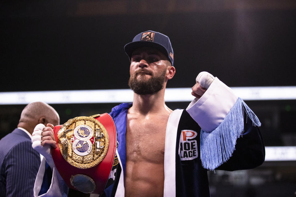 NASHVILLE, TN - FEBRUARY 15:  Caleb Plant of United States poses with his championship belt after defeating Vincent Feigenbutz of Germany in their IBF world super middleweight championship bout at Bridgestone Arena on February 15, 2020 in Nashville, Tennessee. Plant defeats Feigenbutz by TKO during the tenth round. (Photo by Brett Carlsen/Getty Images)