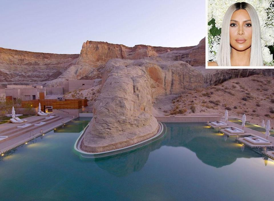 <p><strong>Location:</strong> Canyon Point, Utah</p> <p>Kim Kardashian West spent her birthday at the exclusive Amangiri Resort in Utah. Other celeb fans include Drew Barrymore, Rosie Huntington-Whitely, and Kendall and Kylie Jenner.</p>