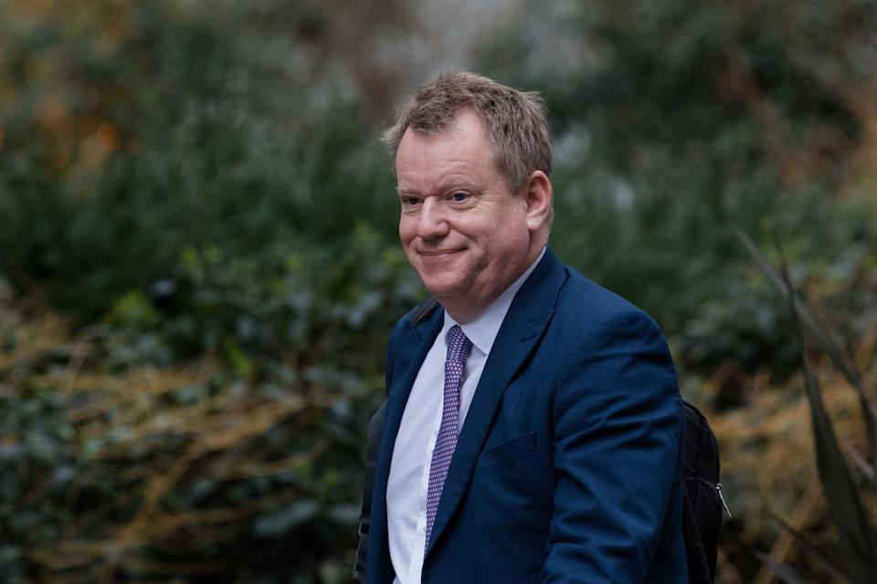 Minister of State in the Cabinet Office David Frost arrives in Downing Street on 24 February, 2021