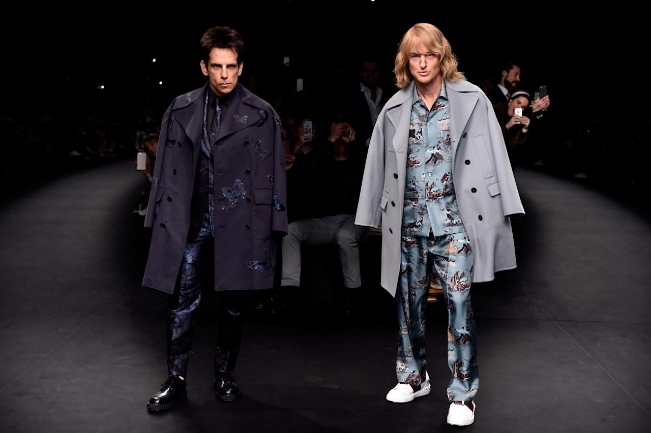 <p>No one expected the prime mockers of the fashion industry to ever appear on an actual catwalk. Yet that's exactly what Valentino allowed Derek Zoolander and Hansel (aka Ben Stiller and Owen Wilson) to do at the end of their AW15 show. Of course, the crowd went wild. <i>[Photo: Getty]</i> </p>