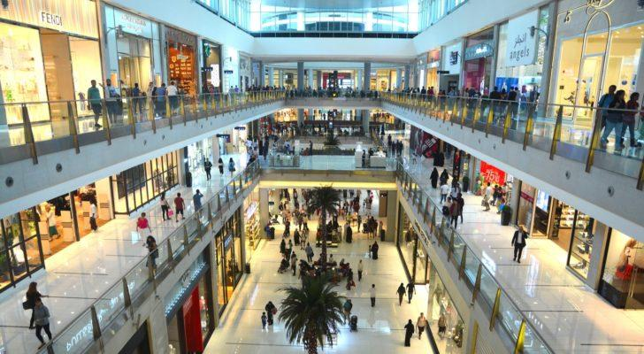 the interior of a crowded shopping mall