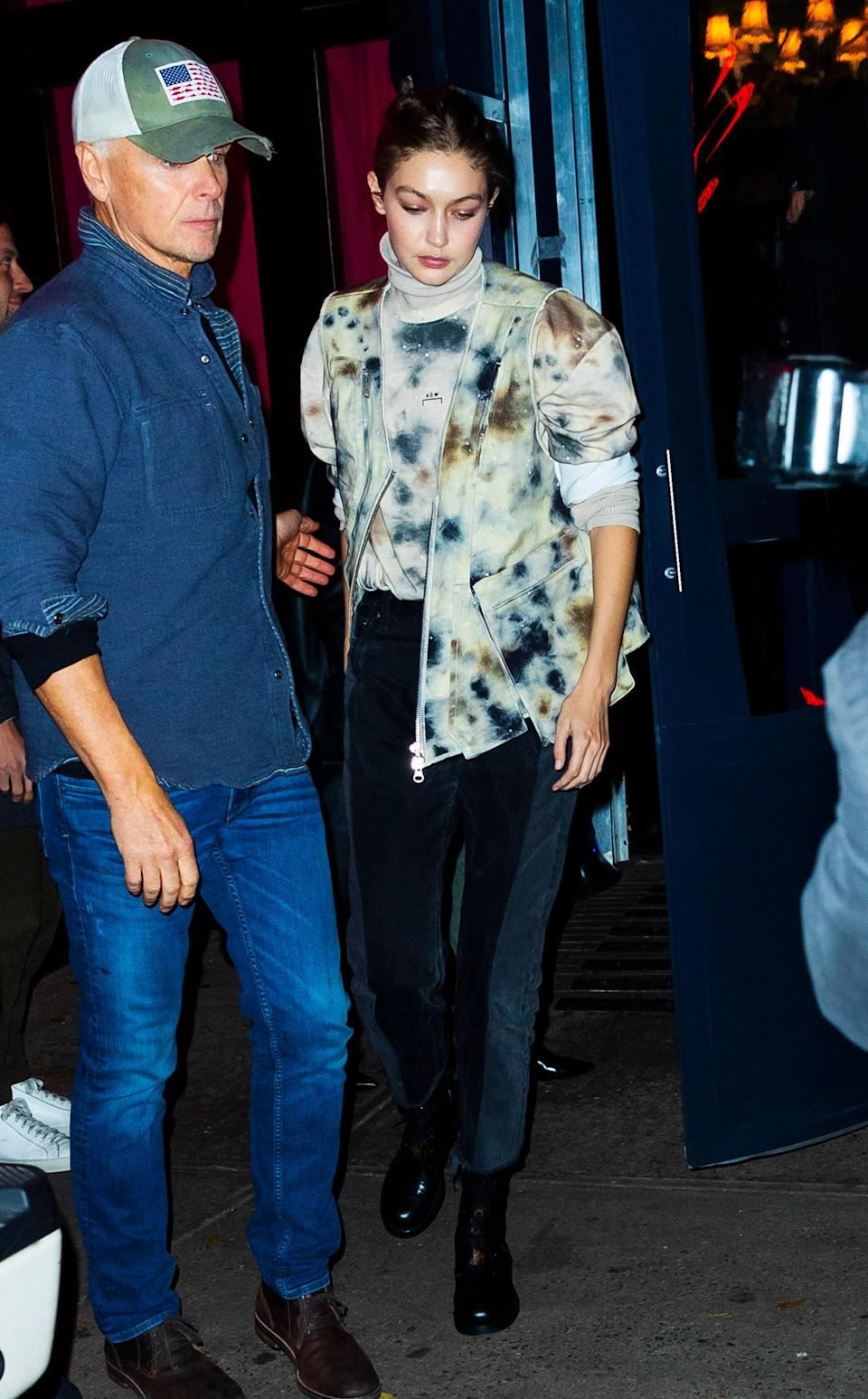 She stepped out for a casual sinner in NYC wearing an elevated take on tie-dye.