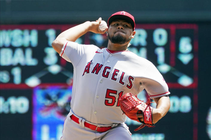 Los Angeles Angels pitcher Jaime Barria throws against the Minnesota Twins in the first inning of a baseball game, Sunday, July 25, 2021, in Minneapolis. (AP Photo/Jim Mone)