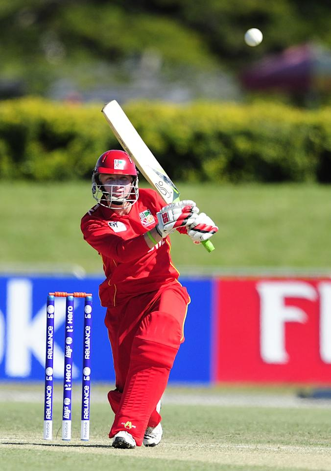 TOWNSVILLE, AUSTRALIA - AUGUST 14:  Matthew Bentley of Zimbabwe bats during the ICC U19 Cricket World Cup 2012 match between India and Zimbabwe at Tony Ireland Stadium on August 14, 2012 in Townsville, Australia.  (Photo by Ian Hitchcock-ICC/Getty Images)