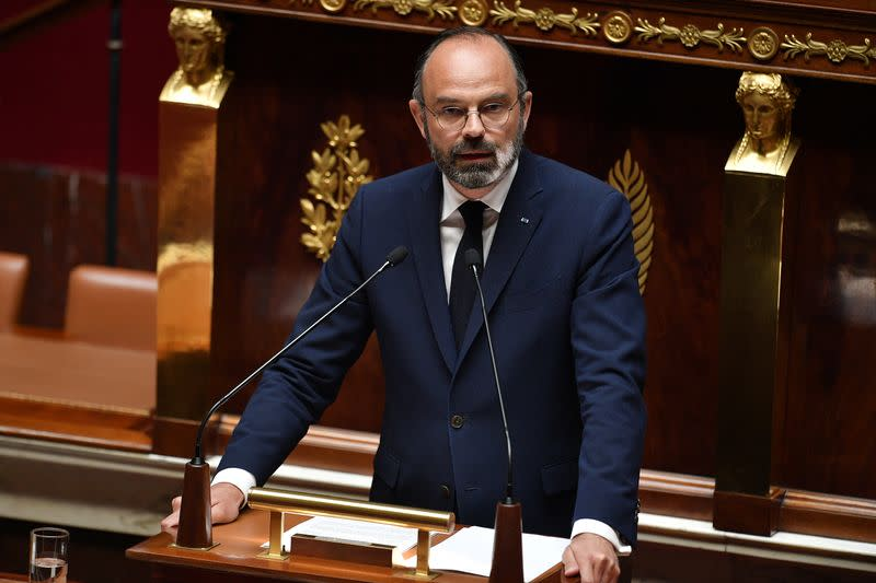French PM Philippe delivers statement to unwind coronavirus lockdown at National Assembly in Paris