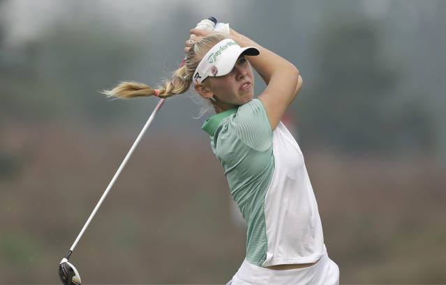 Jessica Korda, of the United States, tees off on the fifth hole during the third round of the Reignwood LPGA Classic golf tournament at Pine Valley Golf Club on the outskirts of Beijing, China, Saturday, Oct. 5, 2013. (AP Photo/Alexander F. Yuan)