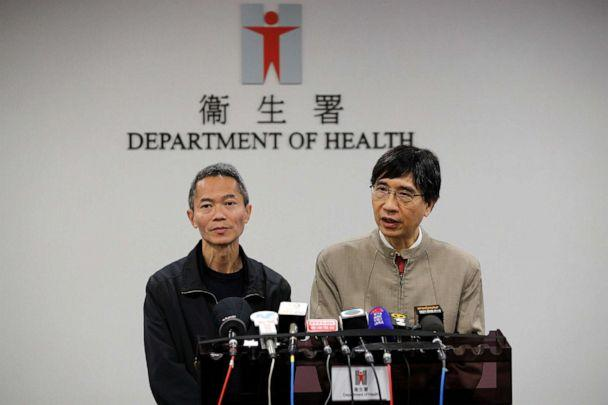 PHOTO: Professor Yuen Kwok-yung, right, speaks next to Wong Ka-hing, the Controller of the Centre for Health Protection of the Department of Health during a press conference at the Health Department in Hong Kong, Jan. 11, 2020. (Andy Wong/AP, FILE)
