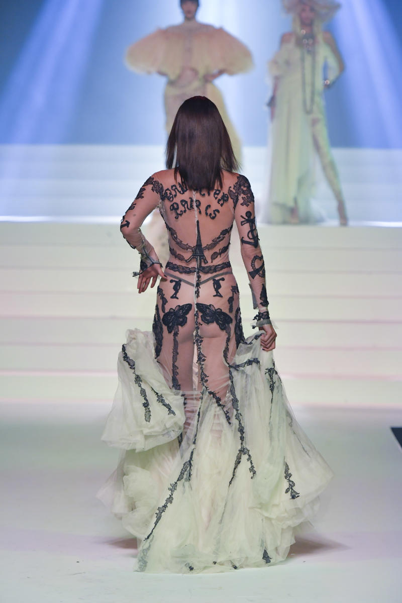 Bella Hadid walks the runway during the Jean-Paul Gaultier Haute Couture Spring/Summer 2020 fashion show as part of Paris Fashion Week at Theatre Du Chatelet on January 22, 2020 in Paris, France.