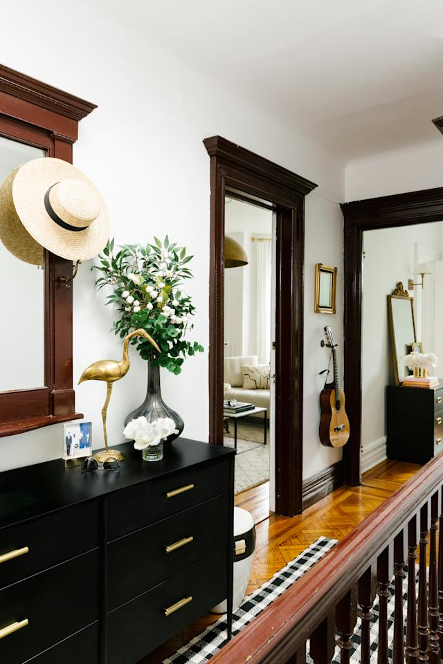 """<p>Unlike many Brooklyn apartments, which share a stairway, Girard gets the whole entrance and second-floor hallway to herself. """"Just having our own entrance up the stoop and that whole area up here being private felt like bonus space,"""" she says.</p>"""