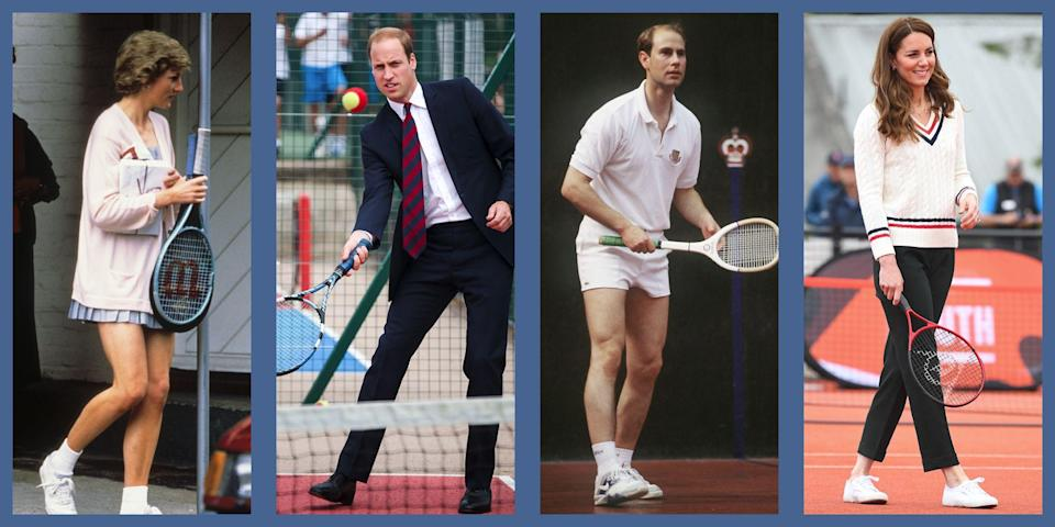"""<p>The British royal family loves their sporting exploits, and tennis clearly holds a special place in their hearts. Their fondness for the sport has made the annual Wimbledon tennis tournament something of an unofficial <a href=""""https://www.townandcountrymag.com/society/tradition/a37012400/kate-middleton-michael-middleton-wimbledon-wave-photos/"""" rel=""""nofollow noopener"""" target=""""_blank"""" data-ylk=""""slk:royal spotting"""" class=""""link rapid-noclick-resp"""">royal spotting</a> event (and <a href=""""https://www.townandcountrymag.com/society/tradition/g28397730/kate-middleton-sports-face-reaction-photos/"""" rel=""""nofollow noopener"""" target=""""_blank"""" data-ylk=""""slk:Kate Middleton's faces"""" class=""""link rapid-noclick-resp"""">Kate Middleton's faces</a> at the Grand Slam have become the stuff of tennis legend), but their affection also extends out of the stands and onto the court. Plenty of royals have enjoyed serving up some game themselves. Here, the best shot of the royal family playing like pros. <br></p>"""